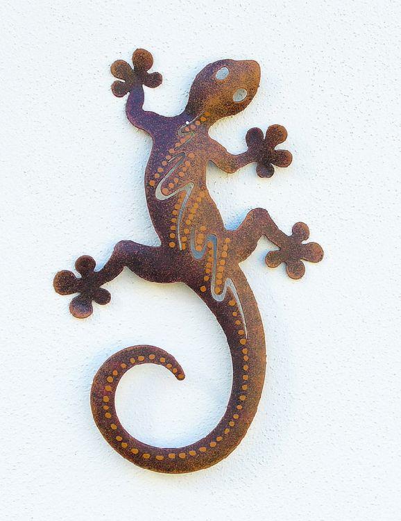 Haus und g rtchen gecko aus metall braun 28 cm gecko aus for Haus aus metall