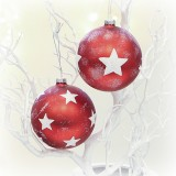 Christbaumkugel 'Stars' aus Glas 8 cm 2er-Set